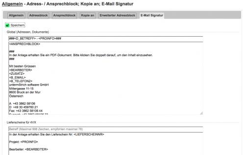 Adress- / Ansprechblock; Kopie an; E-Mail Signatur [untermStrich]